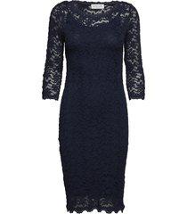 dress 3/4s knälång klänning blå rosemunde