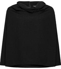 blouse draping plus long sleeves stickad tröja svart zizzi