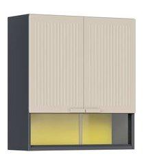 armário aéreo cozinha 2 portas itatiaia móveis pop art grafite off white e amarelo