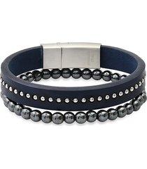 anthony jacobs men's 2-piece stainless steel, leather & hematite bracelet set
