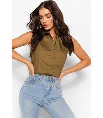 boxy blouse met pofmouwen, olijf