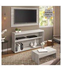 """rack com painel e suporte para tv até 50"""" com mesa de centro atualle multimóveis carvalle"""