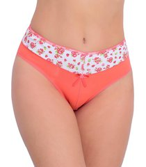 calcinha tj vip lingerie em cotton com cós estampado coral