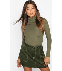 rib turtle neck long sleeve top, khaki