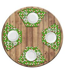 jogo americano love decor  para mesa redonda wevans multi tocas natal love decor