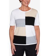 alfred dunner petite classics embellished colorblocked sweater