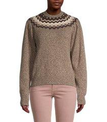 frame women's fair isle sweater - mushroom - size xs