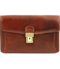 tuscany leather tl141442 tommy - esclusivo borsello a mano in pelle marrone