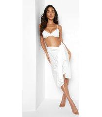 broderie sarong met ceintuur, white