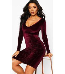 velvet ruched detail midi dress, berry