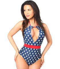 patriotic stars one piece pucker back swimsuit with removable belt