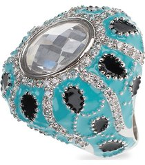 cz by kenneth jay lane women's turban rhodium-plated & crystal ring - size 7