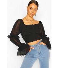 woven ruffle blouson sleeve blouse, black
