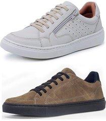 kit 2 sapatenis sandalo soft off white basic kaki