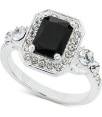 charter club emerald-crystal halo ring in 18k rose gold plate, created for macy's