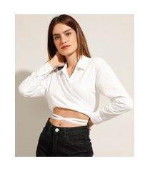 camisa cropped transpassada com amarração manga longa mindset branca