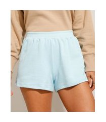short de moletom básico cintura média azul claro