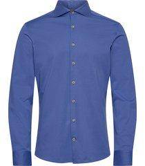 myf royal blue jersey overhemd casual blauw hackett london