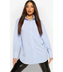 lang oversized shirt met krijtstrepen, blauw