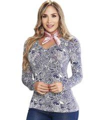 blusa caprichosa print az  para mujer croydon