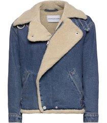 sherpa moto denim jacket jeansjacka denimjacka blå calvin klein jeans