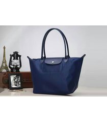 longchamp le pliage neo nylon blue tote handbag  shoulder bag size medium