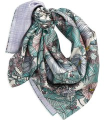 women's tory burch hibiscus reversible print silk square scarf, size one size - white