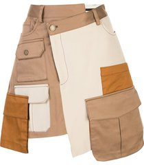 monse patchwork twill mini skirt - brown