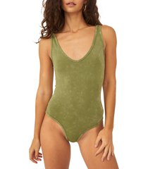 free people seamless tank bodysuit, size medium in washed army at nordstrom