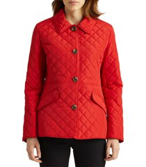 women's lauren ralph lauren diamond quilted jacket, size small - red