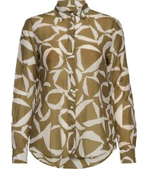 d1. crescent bloom co silk shirt långärmad skjorta grön gant
