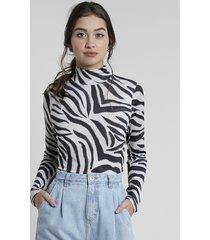 blusa feminina mindset estampada animal print zebra manga longa gola alta preta
