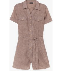 womens work from home belted romper - stone