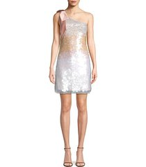 bow one-shoulder sequin mini dress