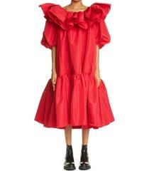 women's alexander mcqueen ruffle puff sleeve drop waist midi dress, size 0 us - red