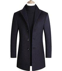 chaqueta abrigo larga hombre lana casual sa837 azul