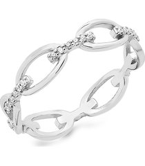 sterling forever women's sterling silver & cubic zirconia open chain link ring/size 6 - size 6