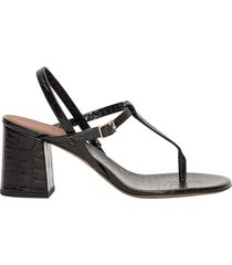 lautre chose thong sandals in crocodile embossed leather
