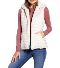women's gallery reversible hooded faux fur vest