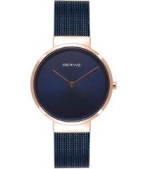 bering women's classic blue stainless steel mesh bracelet watch 31mm
