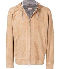 brunello cucinelli zipped hoodie - brown