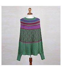 alpaca blend poncho sweater, 'jade leaves' (peru)