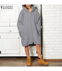zanzea larga para mujer de la manga sudaderas con capucha de la cremallera sudaderas con capucha causal puentes outwear -gris claro