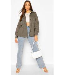 oversized utility pocket jean jacket, khaki