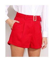 short alfaiatado cintura super alta com cinto vermelho