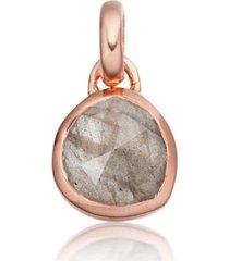 rose gold siren mini bezel pendant charm labradorite