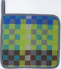 pega de panela  xadres 100% algodã£o jaquarde - produzido e importado de portugal - azul/cinza/verde - dafiti