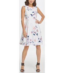 dkny sleeveless soft floral fit & flare dress