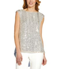 adrianna papell sequinned-front flyaway top