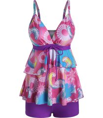layered flounce tie printed surplice tankini swimwear